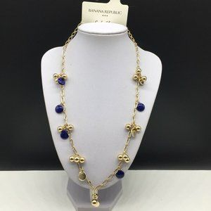 Banana Republic Beaded Chain Blue Enamel Necklace